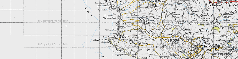 Old map of Thurlestone Rock in 1946
