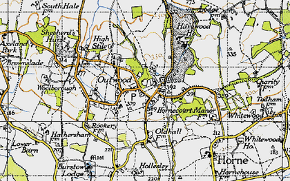 Old map of Outwood in 1946