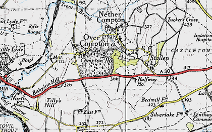 Old map of Babylon Hill in 1945