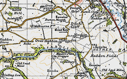 Old map of Over Haddon in 1947