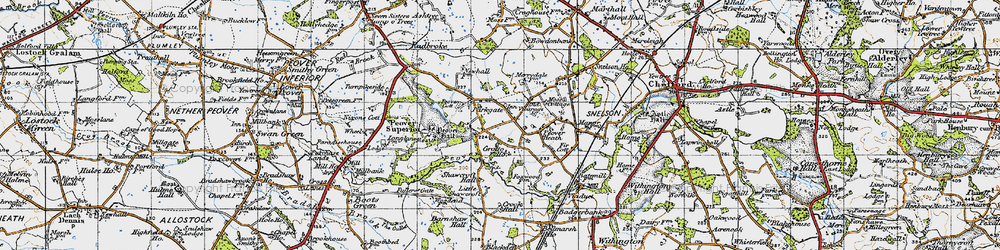 Old map of Over Peover in 1947