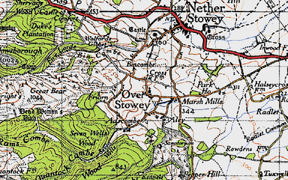 Old map of Over Stowey in 1946
