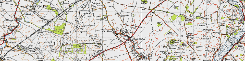 Old map of Over Wallop in 1940