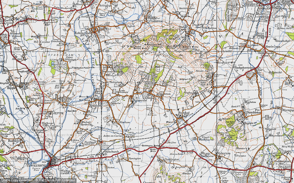Old Map of Overbury, 1946 in 1946