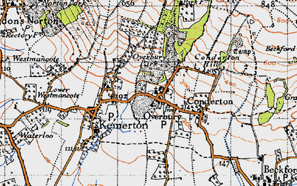 Old map of Overbury in 1946