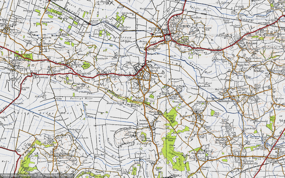Old Map of Historic Map covering Leigh Holt in 1946