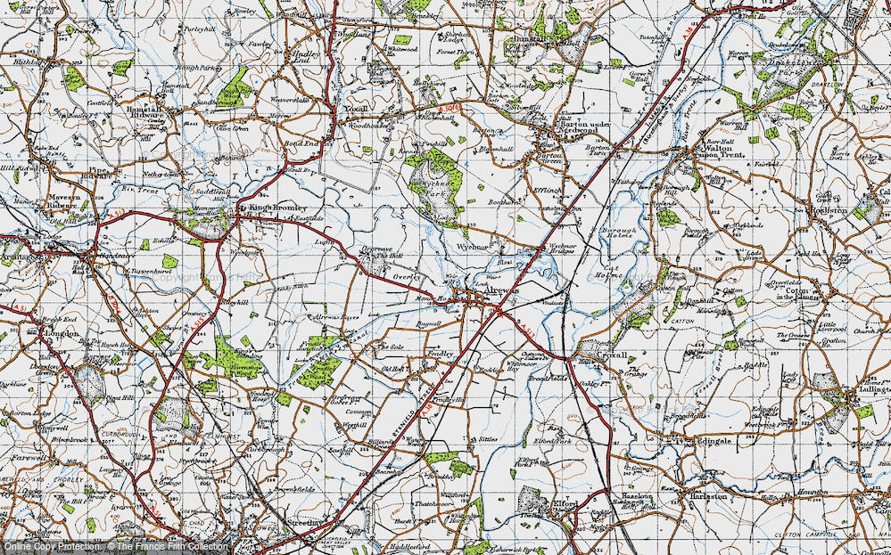 Old Map of Historic Map covering Wychnor Park in 1946