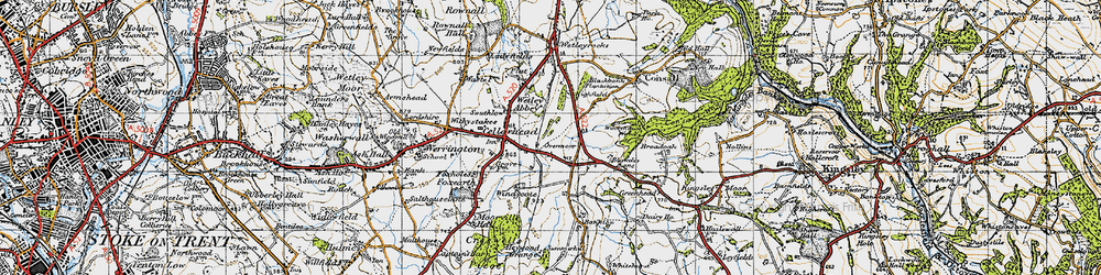 Old map of Wetley Abbey in 1946