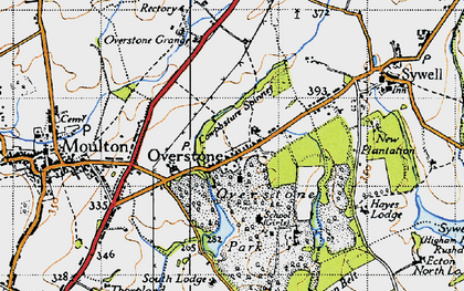 Old map of Overstone in 1946