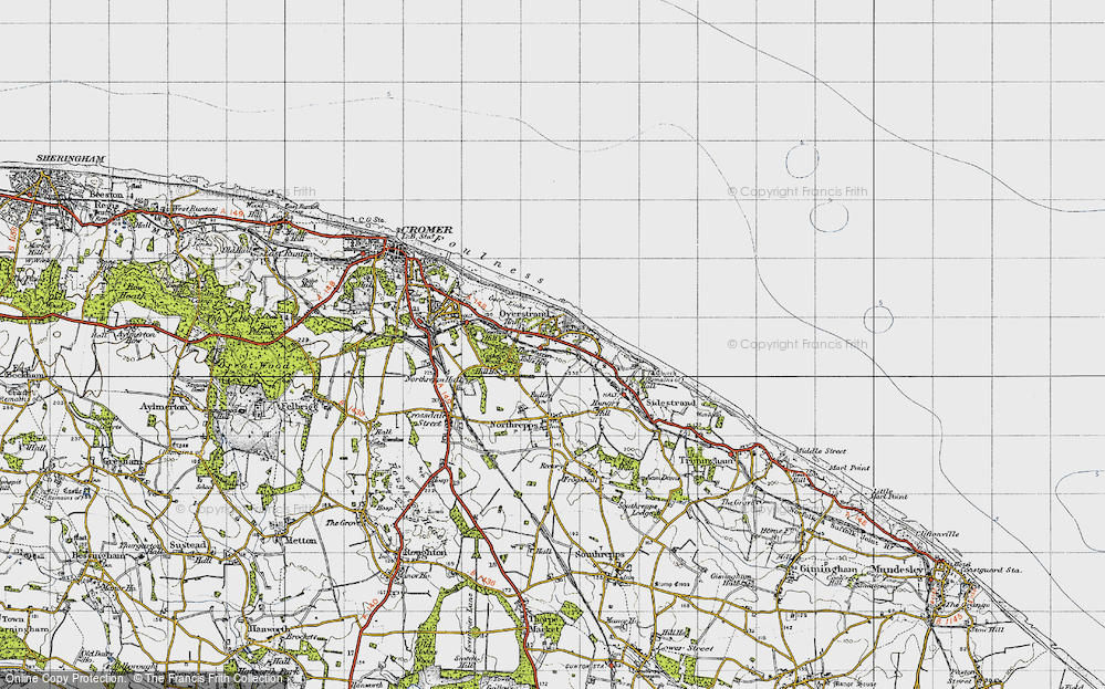 Old Map of Historic Map covering Toll's Hill in 1945