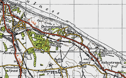 Old map of Overstrand in 1945