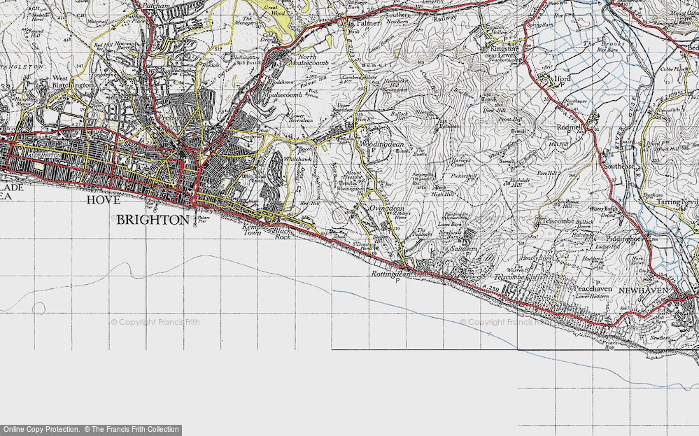 Old Map of Historic Map covering Wick Bottom in 1940
