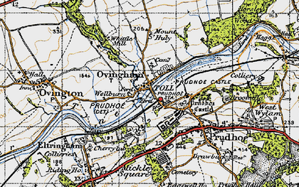 Old map of Ovingham in 1947