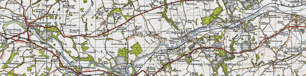Old map of Whittle Burn in 1947