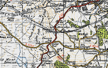 Old map of Owler Bar in 1947