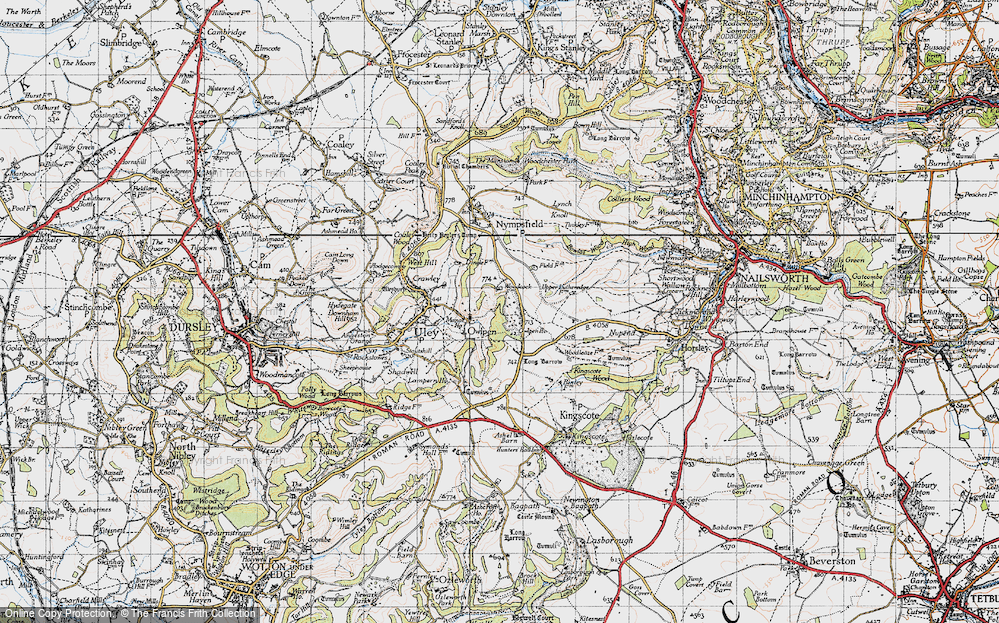Old Map of Historic Map covering Woodcock in 1946