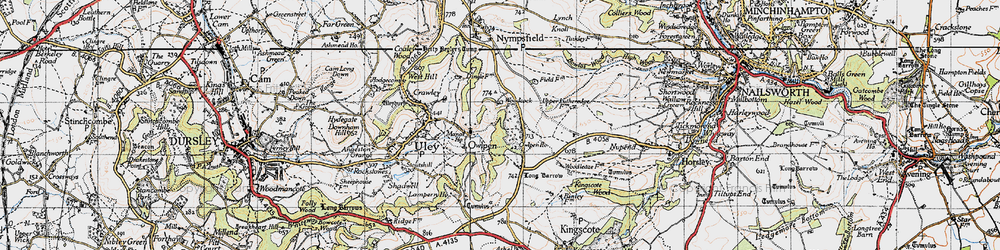 Old map of Owlpen in 1946