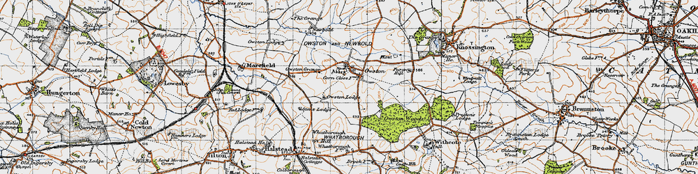 Old map of Whatborough Hill in 1946