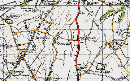 Old map of Oxcroft in 1947