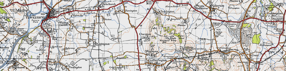 Old map of Woolstone Hill in 1946