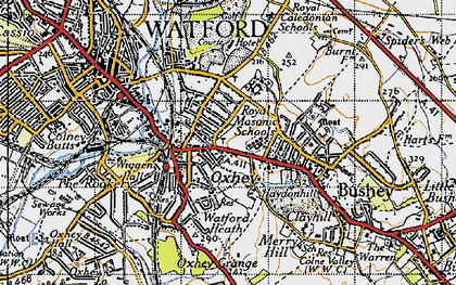 Old map of Oxhey in 1946