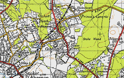 Old map of Oxshott in 1945