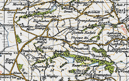 Old map of Oxton Rakes in 1947