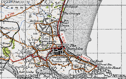 Old map of Oystermouth in 1947