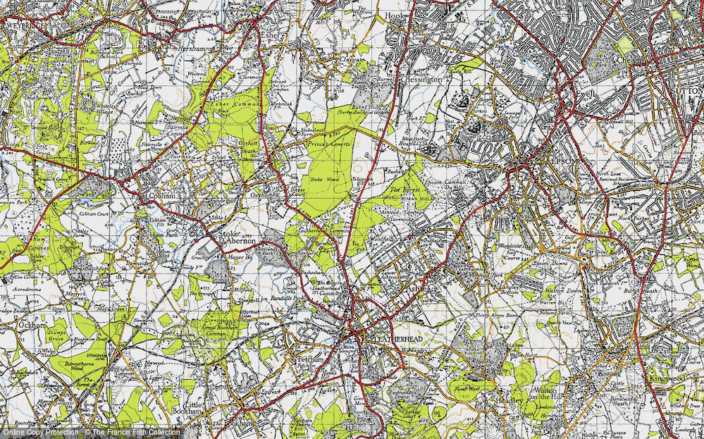Old Map of Historic Map covering Ashtead Common in 1945