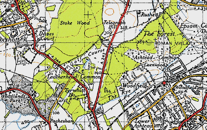 Old map of Ashtead Common in 1945