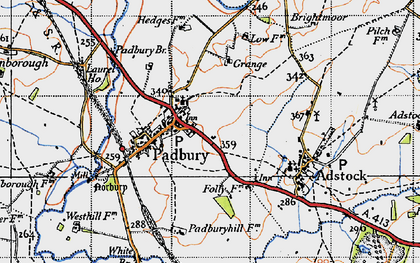 Old map of Padbury in 1946