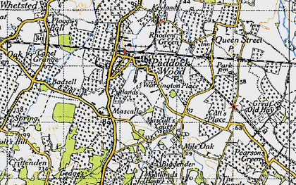 Old map of Paddock Wood in 1946