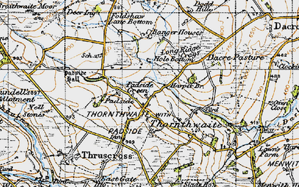Old map of Yates Ho in 1947