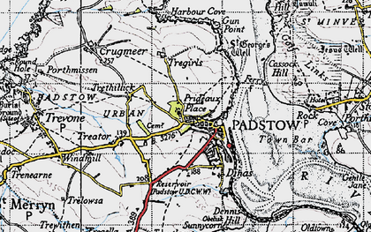 Old map of Padstow in 1946
