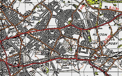 Old map of Page Moss in 1947