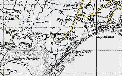 Old map of Pagham in 1945