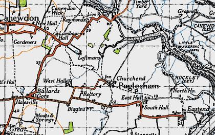 Old map of Paglesham Churchend in 1945