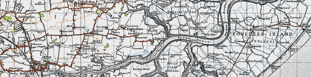 Old map of Paglesham Eastend in 1945