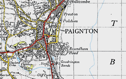 Old map of Paignton in 1946