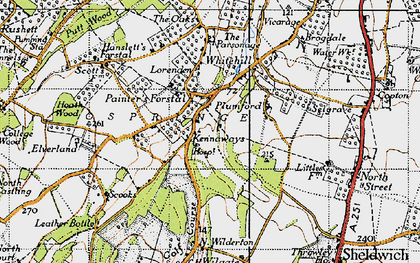 Old map of Painter's Forstal in 1946
