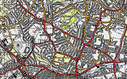 Old map of Palmers Green in 1945