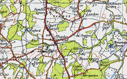 Old map of Pamber End in 1945