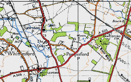 Old map of Whittlesford Parkway Sta in 1946