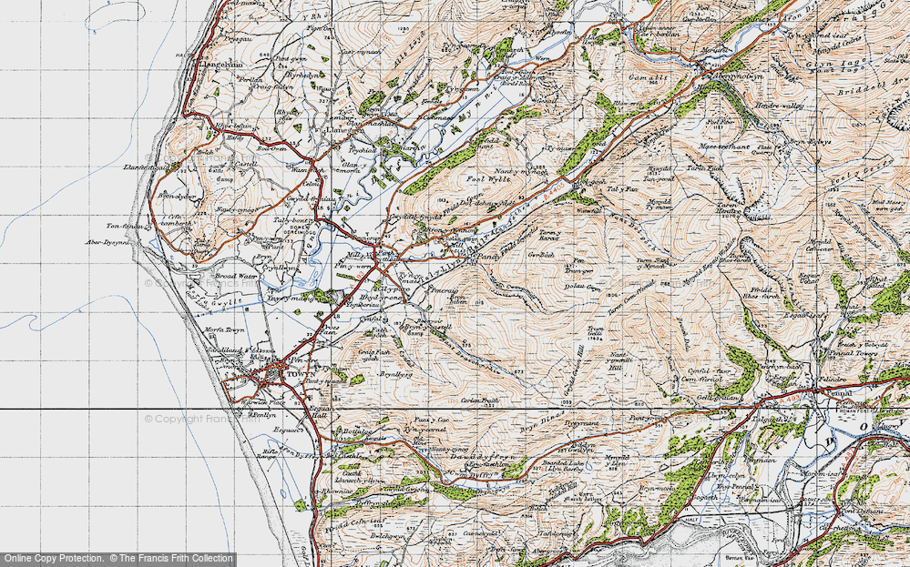 Old Map of Historic Map covering Afon Cwm-pandy in 1947