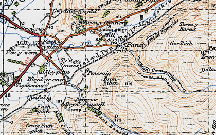 Old map of Afon Cwm-pandy in 1947
