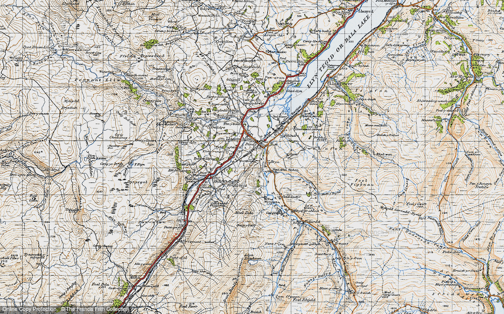 Old Map of Historic Map covering Afon Twrch in 1947
