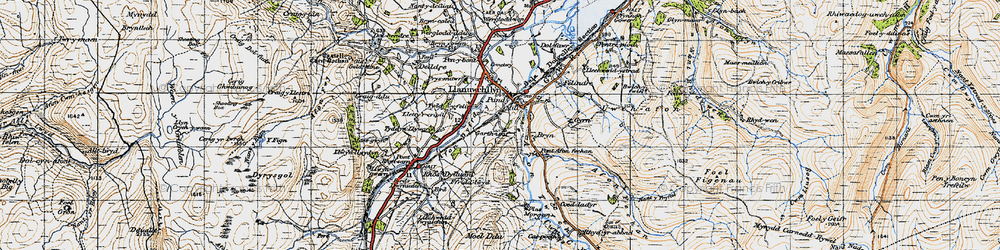 Old map of Afon Twrch in 1947