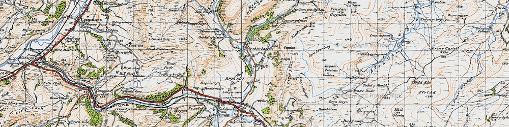Old map of Afon Rhiw Saeson in 1947