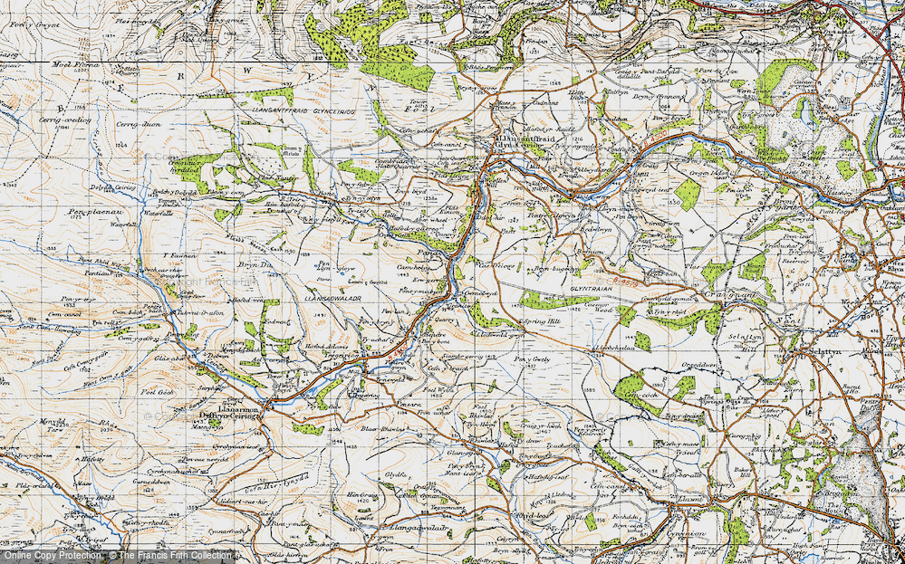 Old Map of Historic Map covering Aberwiel in 1947