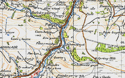 Old map of Aberwiel in 1947
